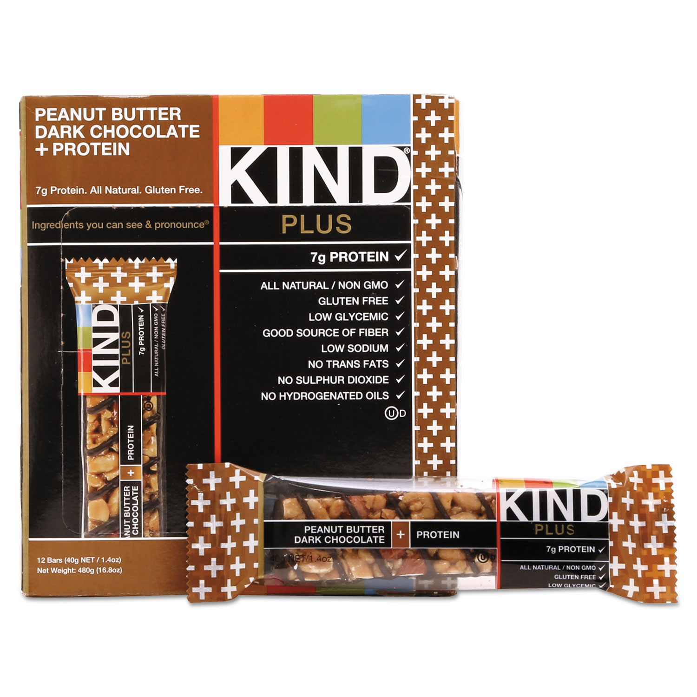 Plus Nutrition Boost Bar, Peanut Butter Dark Chocolate/Protein, 1.4 oz, 12/Box