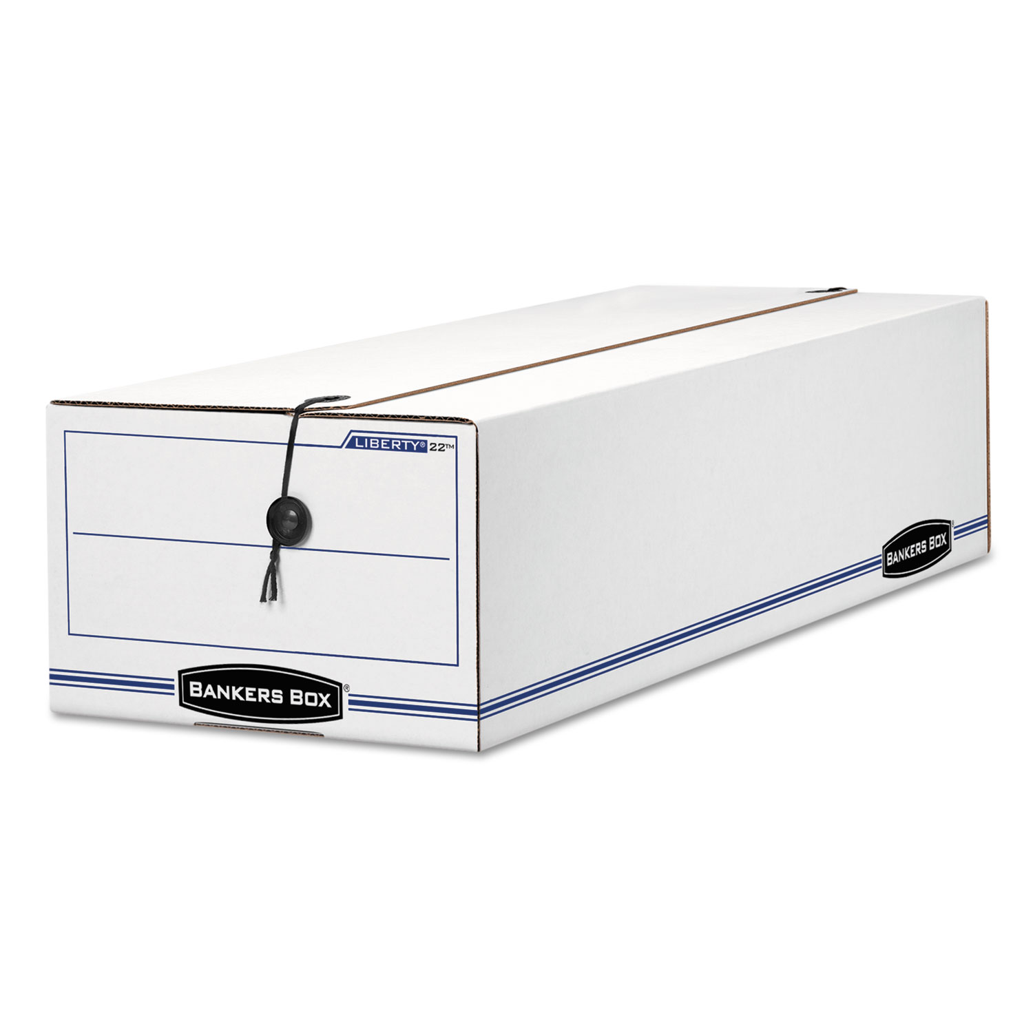 "LIBERTY Check and Form Boxes, 9.75"" x 23.75"" x 6.25"", White/Blue, 12/Carton"