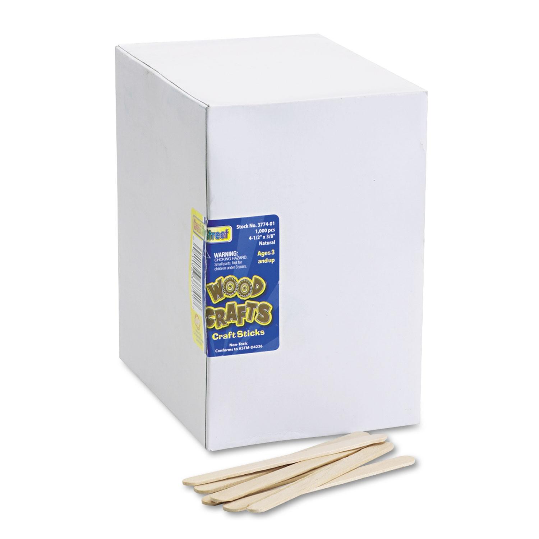 "Natural Wood Craft Sticks, 4.5"" x 0.38"", Economy Grade Wood, Natural, 1,000/Box"