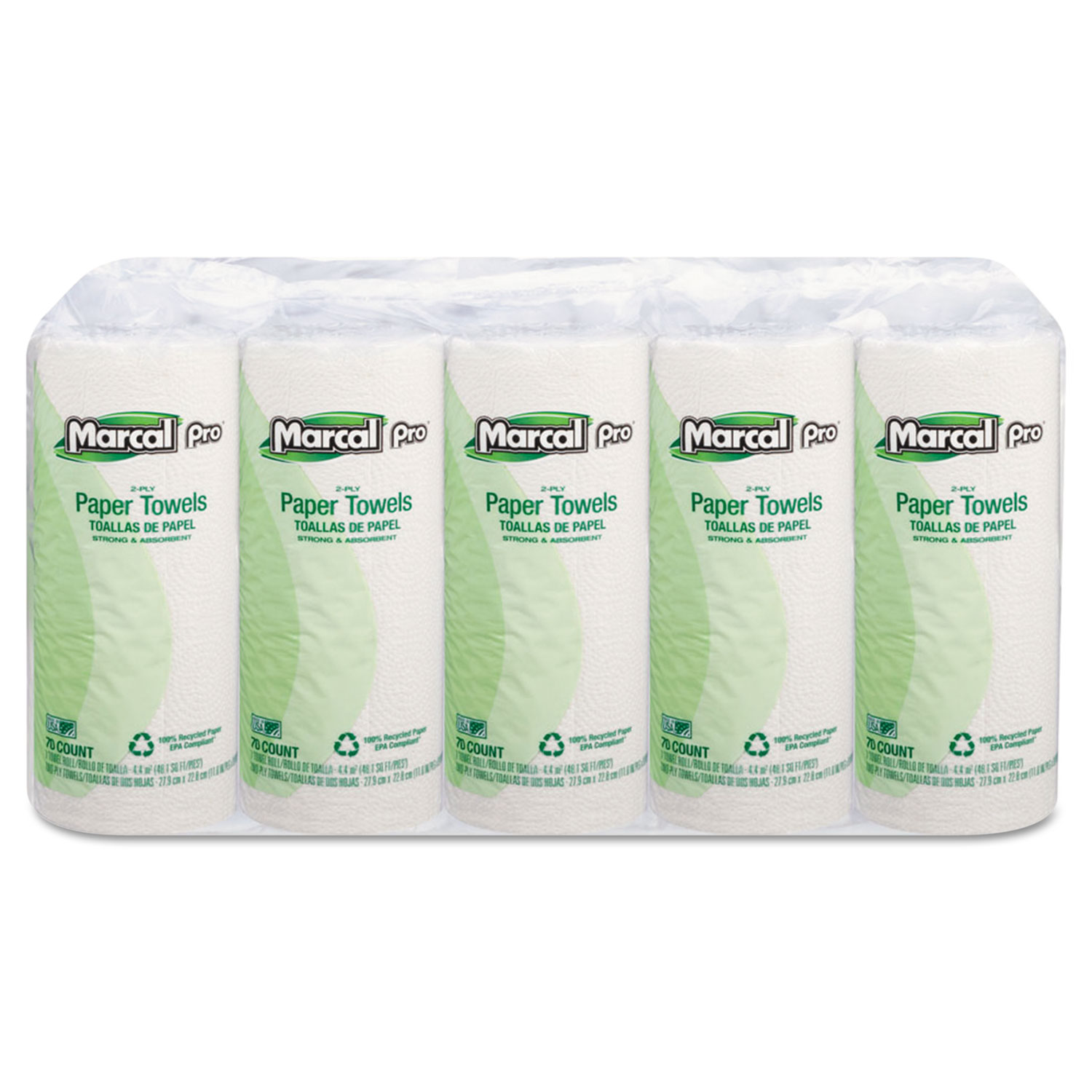 100% Premium Recycled Perforated Towels, 11 x 9, White, 70/Roll, 15 Rolls/Carton
