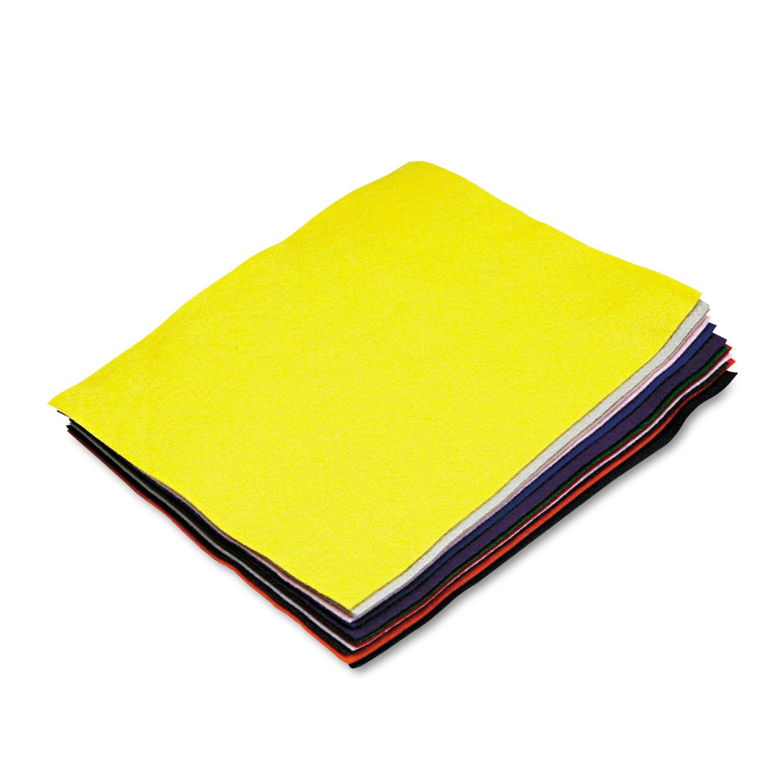 Felt Sheet Pack, Rectangular, 9 x 12, Assorted Colors, 12/Pack
