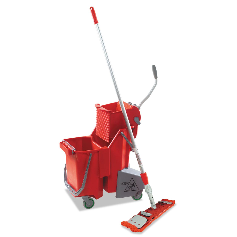Side-Press Restroom Mop Dual Bucket FloorPack, 8gal, Plastic, Red