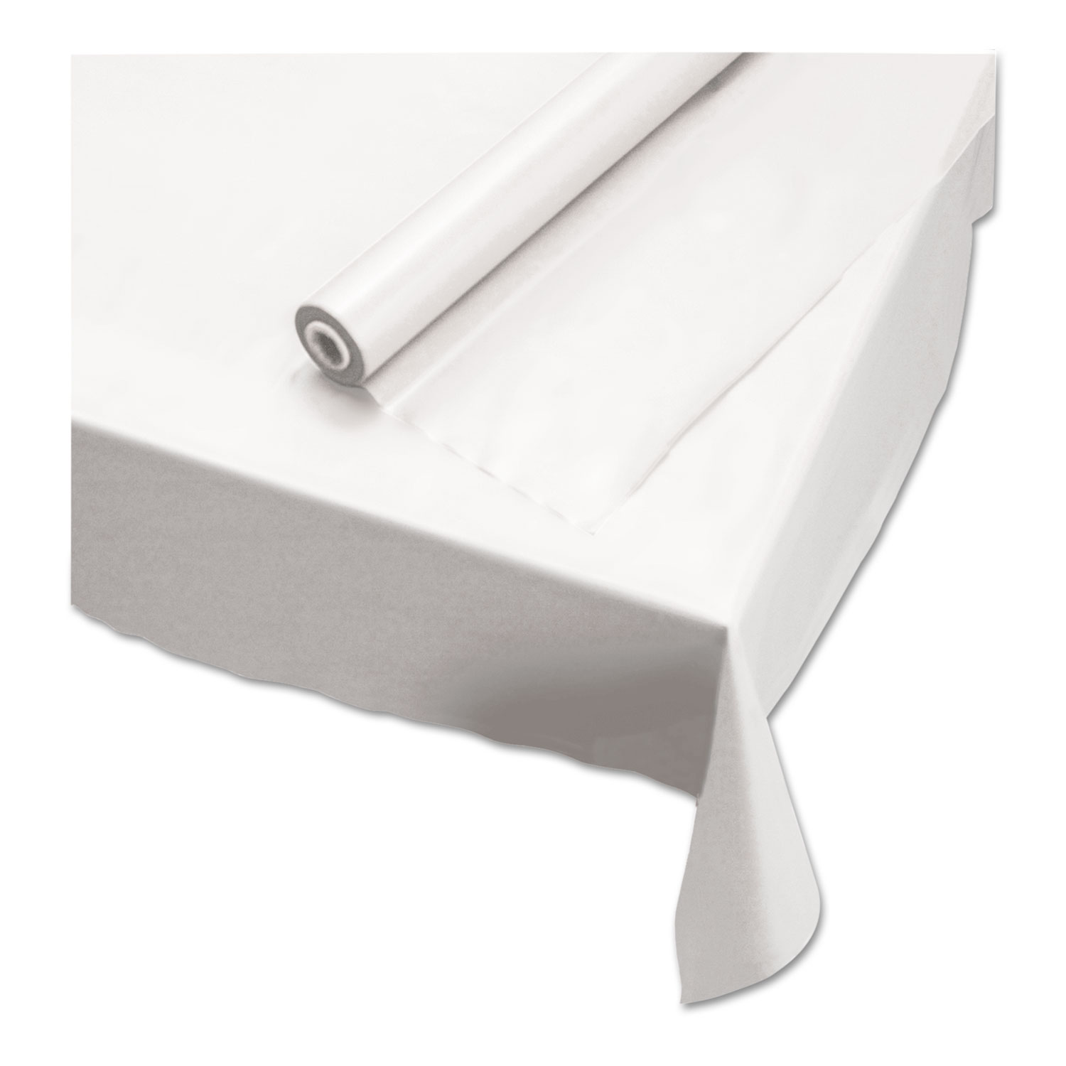"""Plastic Roll Tablecover, 40"""" x 100 ft, White"""