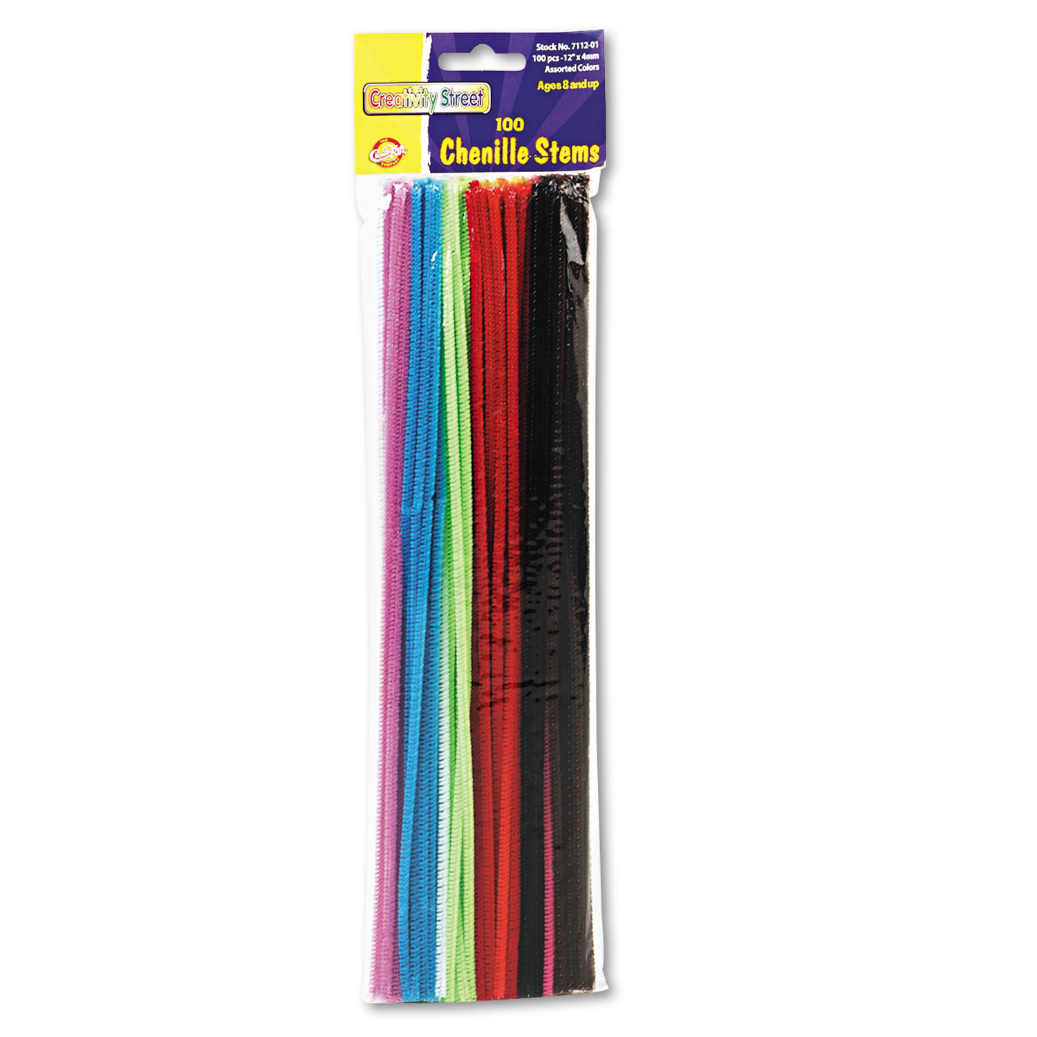 """Regular Stems, 12"""" x 0.16"""", Metal Wire, Polyester, Assorted, 100/Pack"""