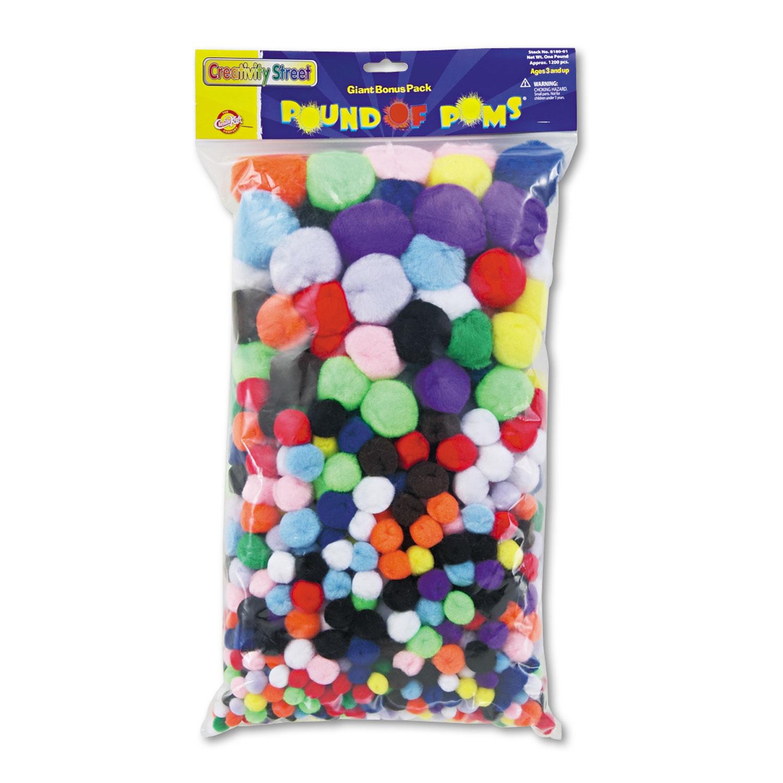 Pound of Poms Giant Bonus Pack, Assorted Colors, 1 lb/Pack