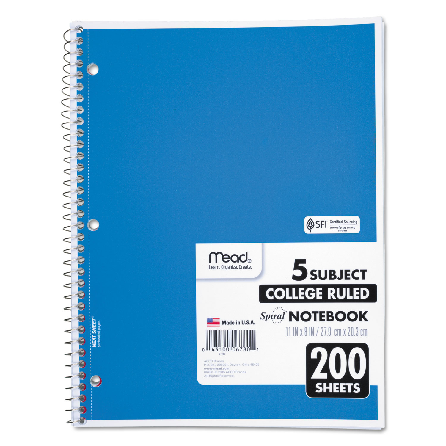 Spiral Notebook, 5 Subjects, Medium/College Rule, Assorted