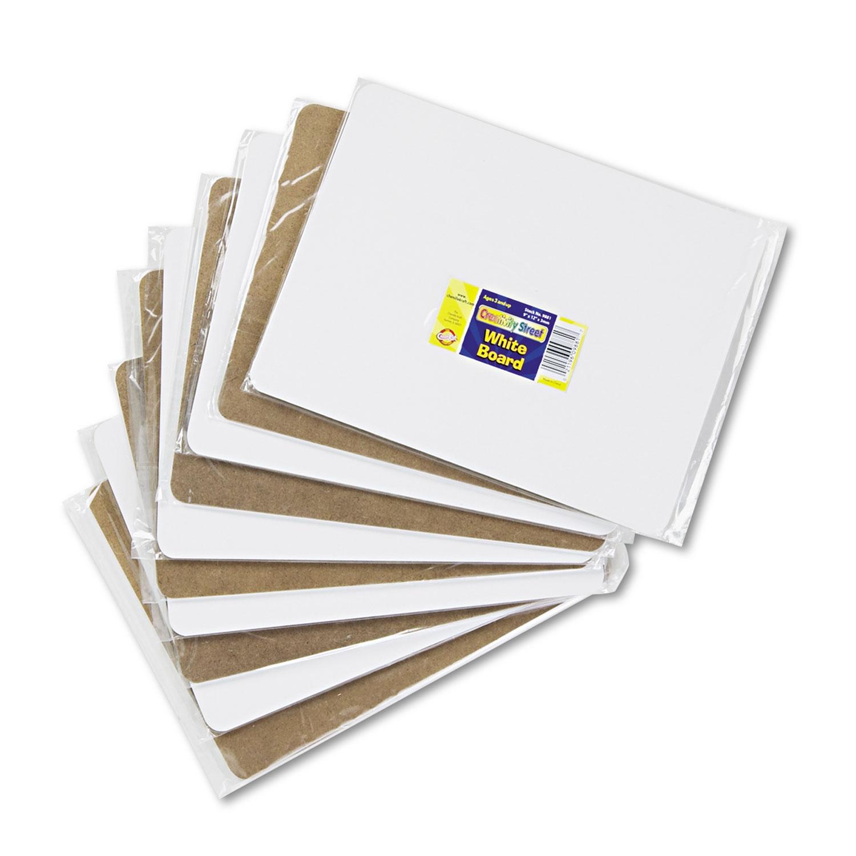 Unruled Dry-Erase Student Board, Melamine, 12 x 9, White, 10/Set