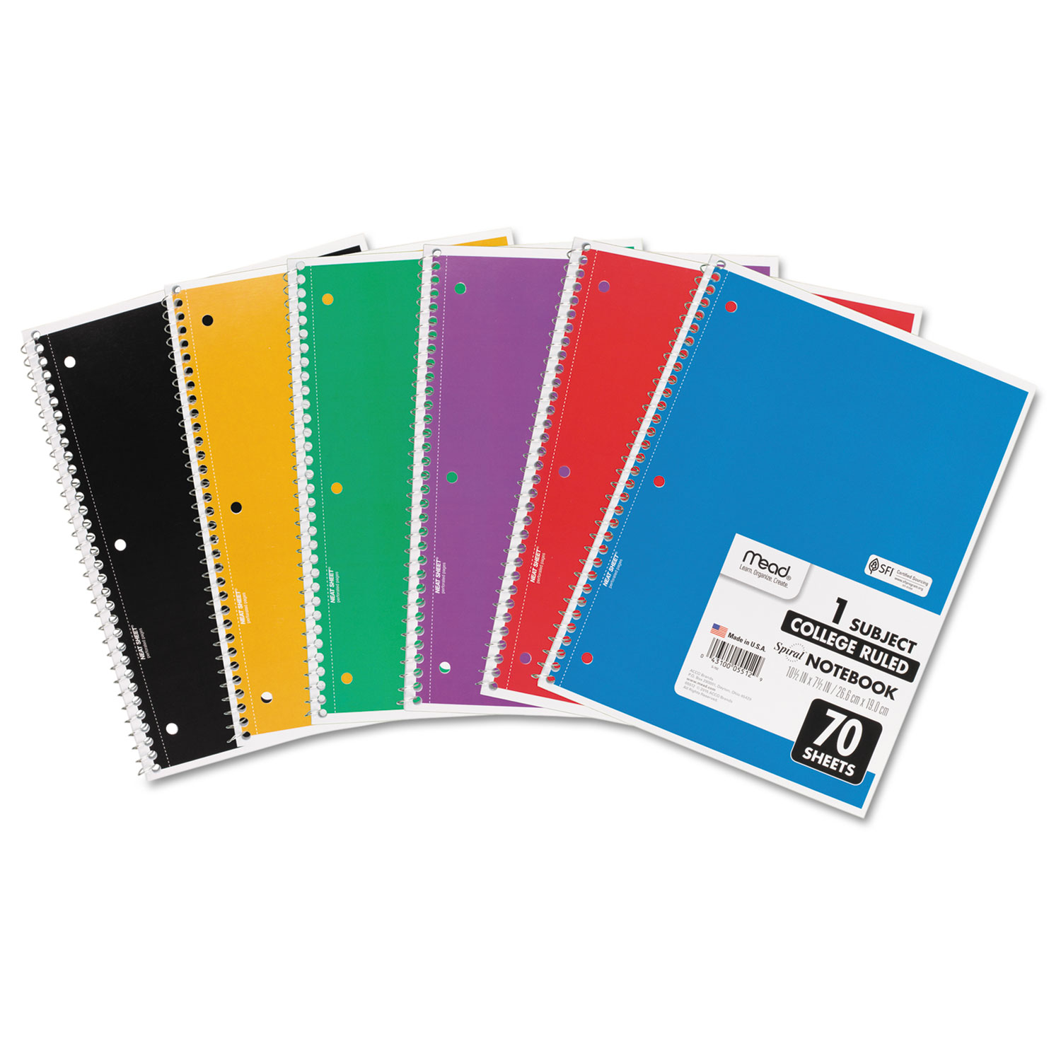 Spiral Notebook, 1 Subject, Medium/College Rule, Assorted Color Covers,  10 5 x 7 5, 70 Pages