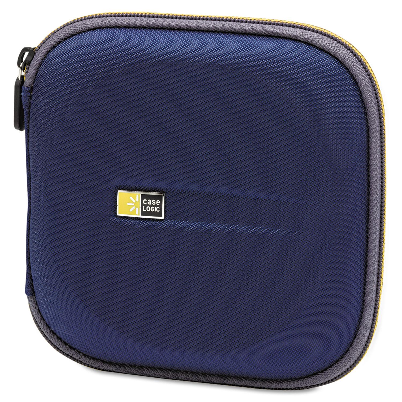 Molded EVA CD/DVD Wallet, Holds 24 Discs, Blue