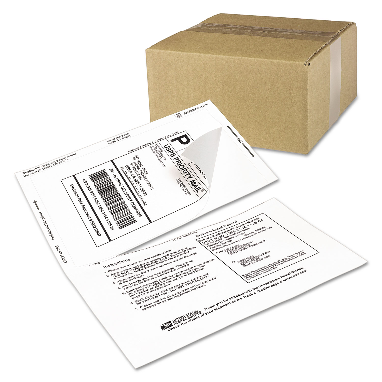 ave5127 avery shipping labels w  paper receipt