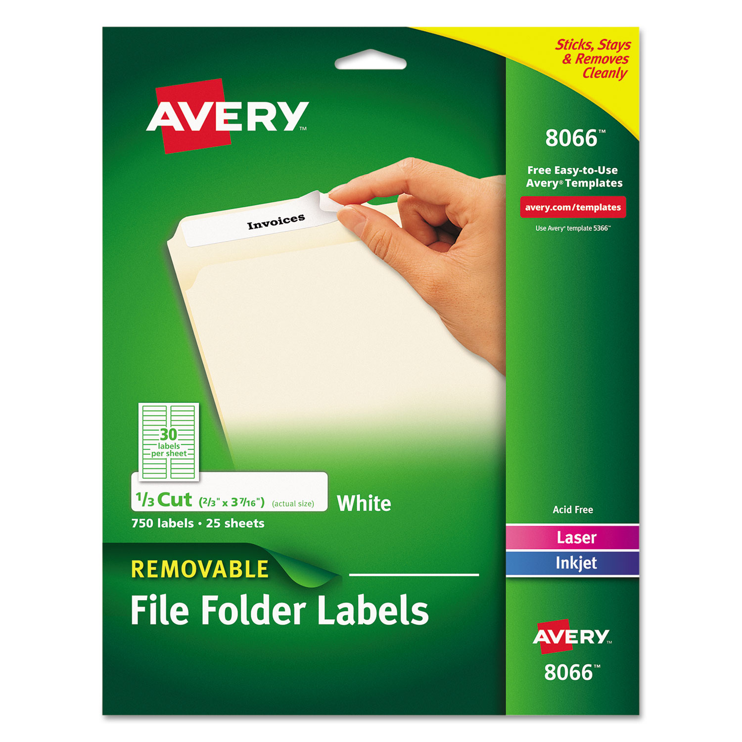 Removable File Folder Labels with Sure Feed Technology, 0.66 x 3.44, White, 30/Sheet, 25 Sheets/Pack AVE8066