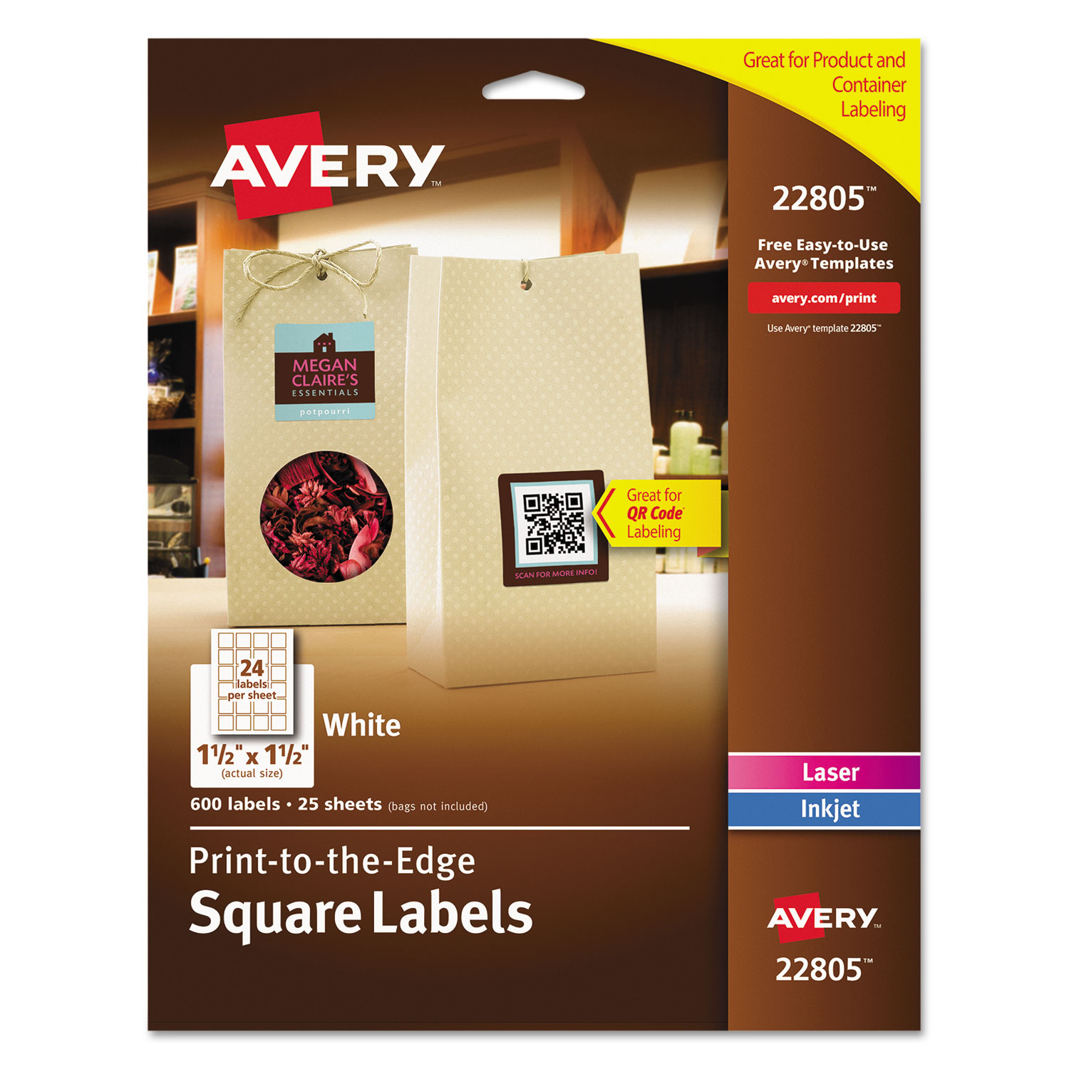 square print to the edge labels w trueblock by avery ave22805