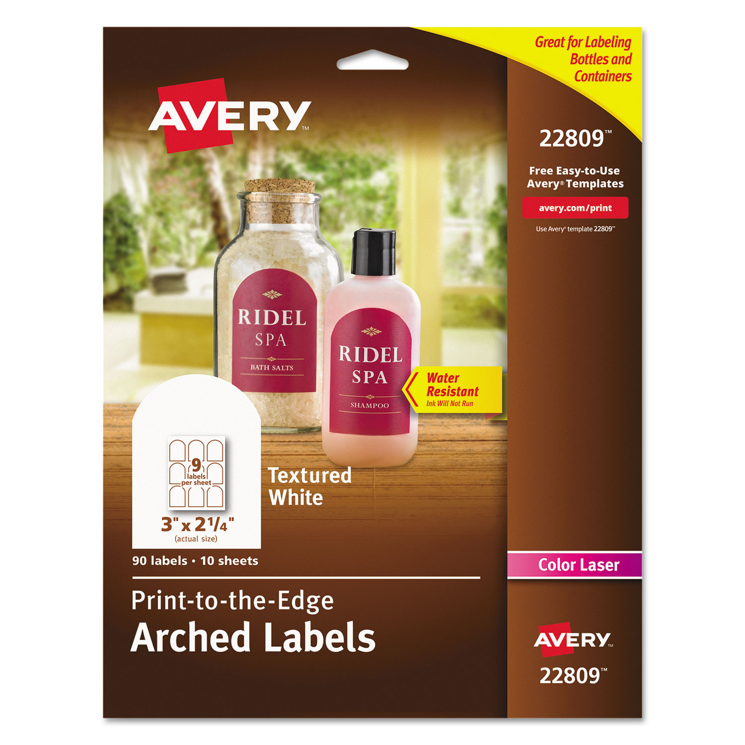 textured arched print to the edge labels by avery ave22809