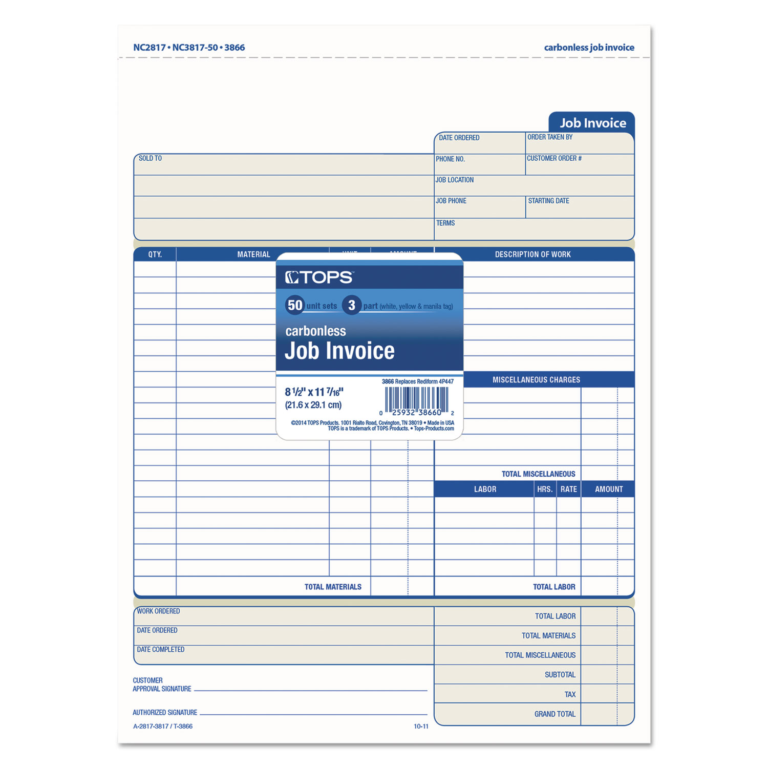 Snap-Off Job Invoice Form by TOPS™ TOP3866 - OnTimeSupplies.com