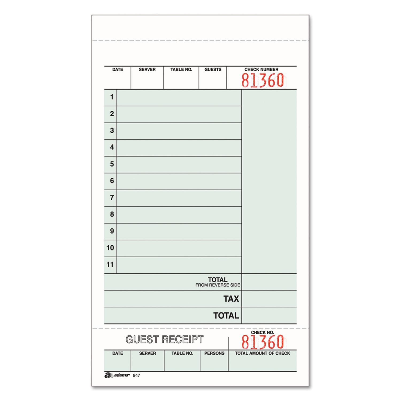 Guest Check Unit Set, Carbonless Duplicate, 7 1/4 x 4 1/4, 250/Pack