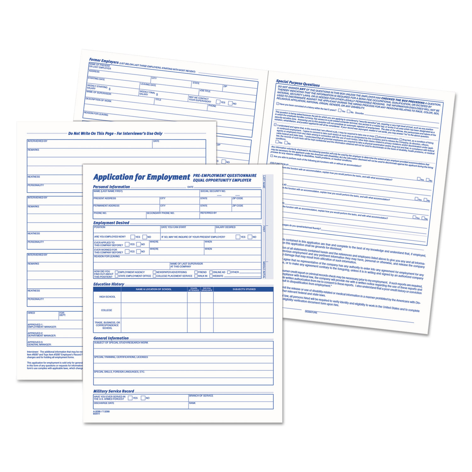comprehensive employee application form by tops top3288
