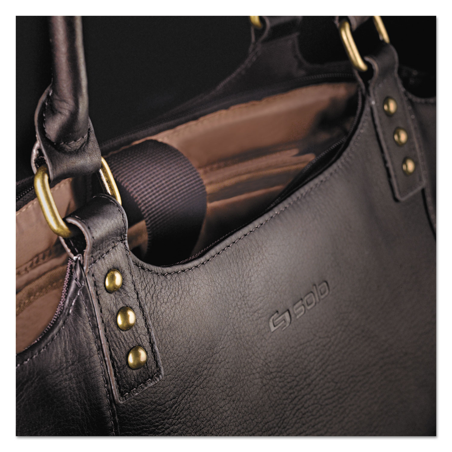 Executive Leather/Poly Bucket Tote, 16, 15 1/2 x 4 3/4 x 17 1/4, Espresso