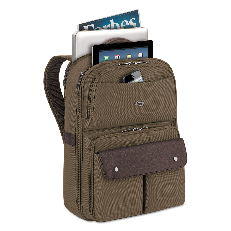 Executive Backpack, 15.6, 11 1/2 x 3 17/20 x 18 1/10, Khaki