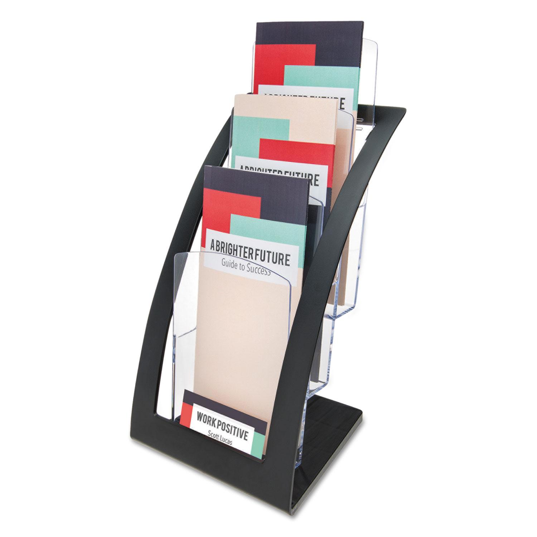 3-Tier Literature Holder, Leaflet Size, 6.75w x 6.94d x 13.31h, Black