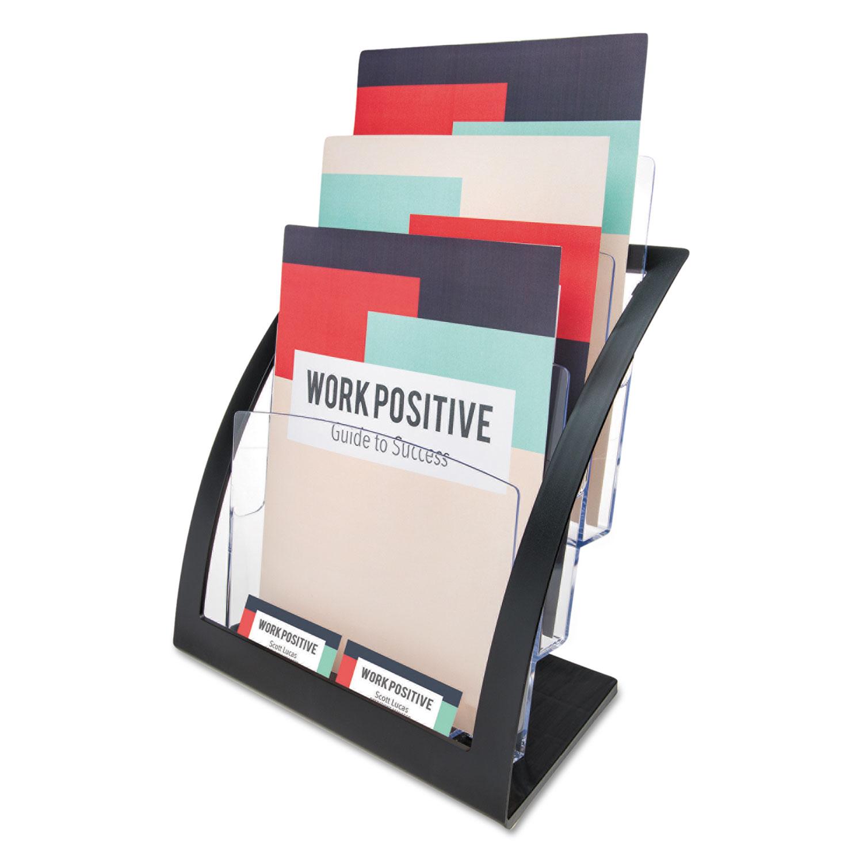 3-Tier Literature Holder, Leaflet Size, 11.25w x 6.94d x 13.31h, Black