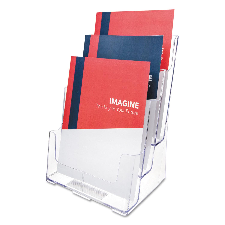 3-Compartment DocuHolder, Magazine Size, 9.5w x 6.25d x 12.63, Clear