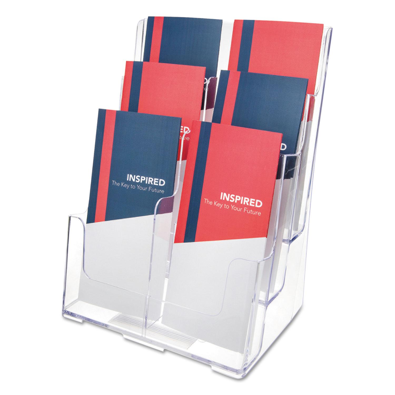 6-Compartment DocuHolder, Leaflet Size, 9.63w x 6.25d x 12.63h, Clear