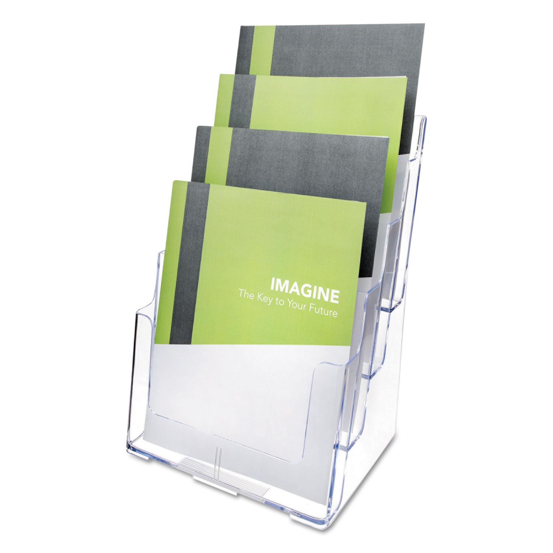 4-Compartment DocuHolder, Magazine Size, 9.38w x 7d x 13.63h, Clear