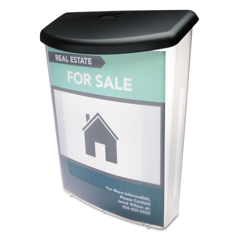 Outdoor Literature Box, 10w x 4.5d x 13.13h, Clear/Black