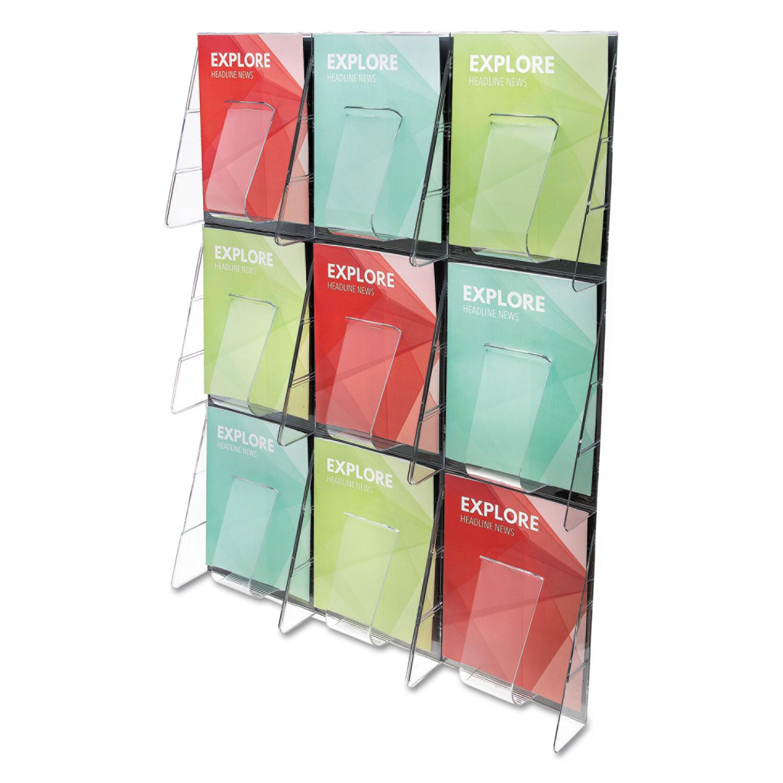 Stand-Tall 9-Bin Wall-Mount Literature Rack, Mag, 27.5w x 3.38d x 35.63h, Clear/Black