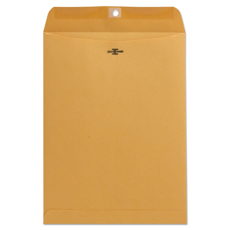 Kraft Clasp Envelope, #10 1/2, Square Flap, Clasp/Gummed Closure, 9 x 12, Brown Kraft, 100/Box