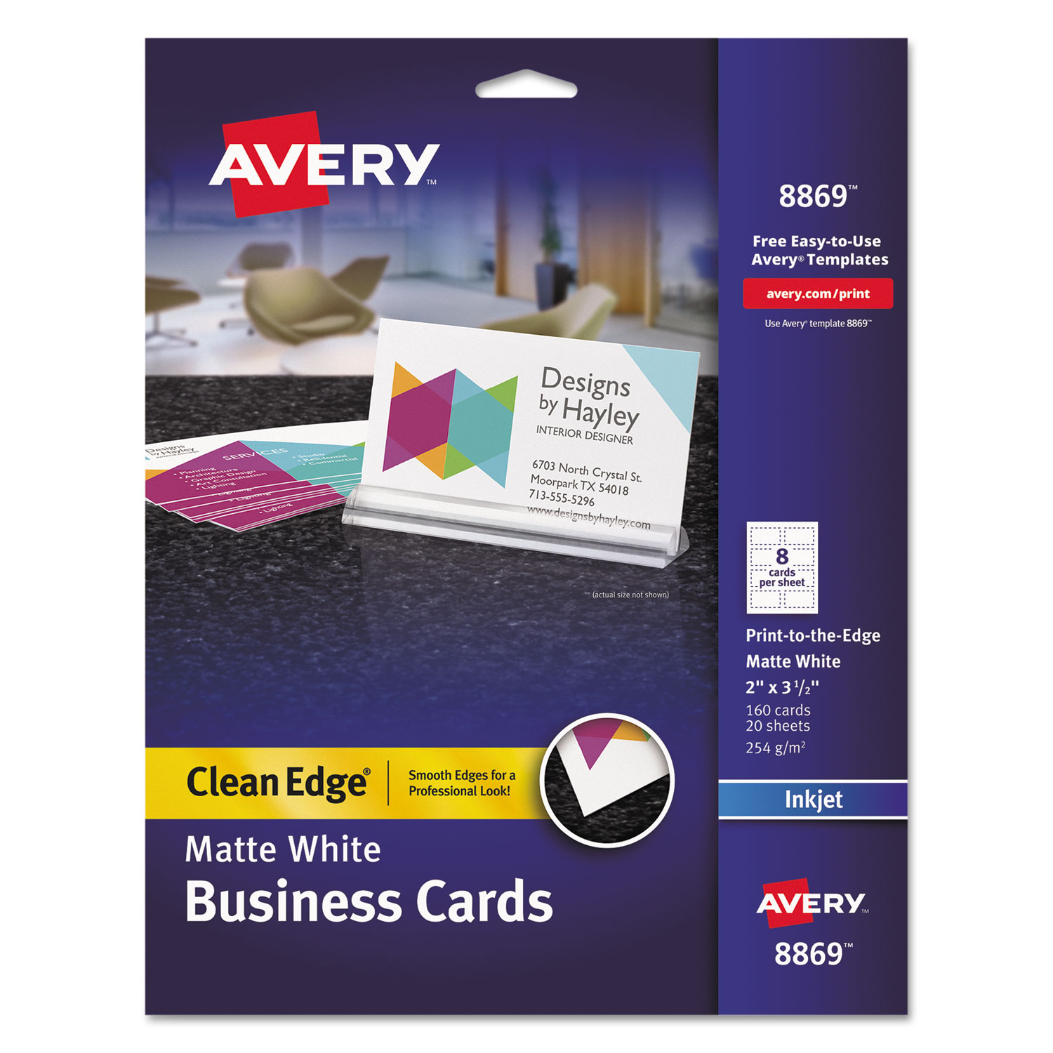 Print to the edge true print business cards by avery ave8869 ave8869 thumbnail 1 reheart Images