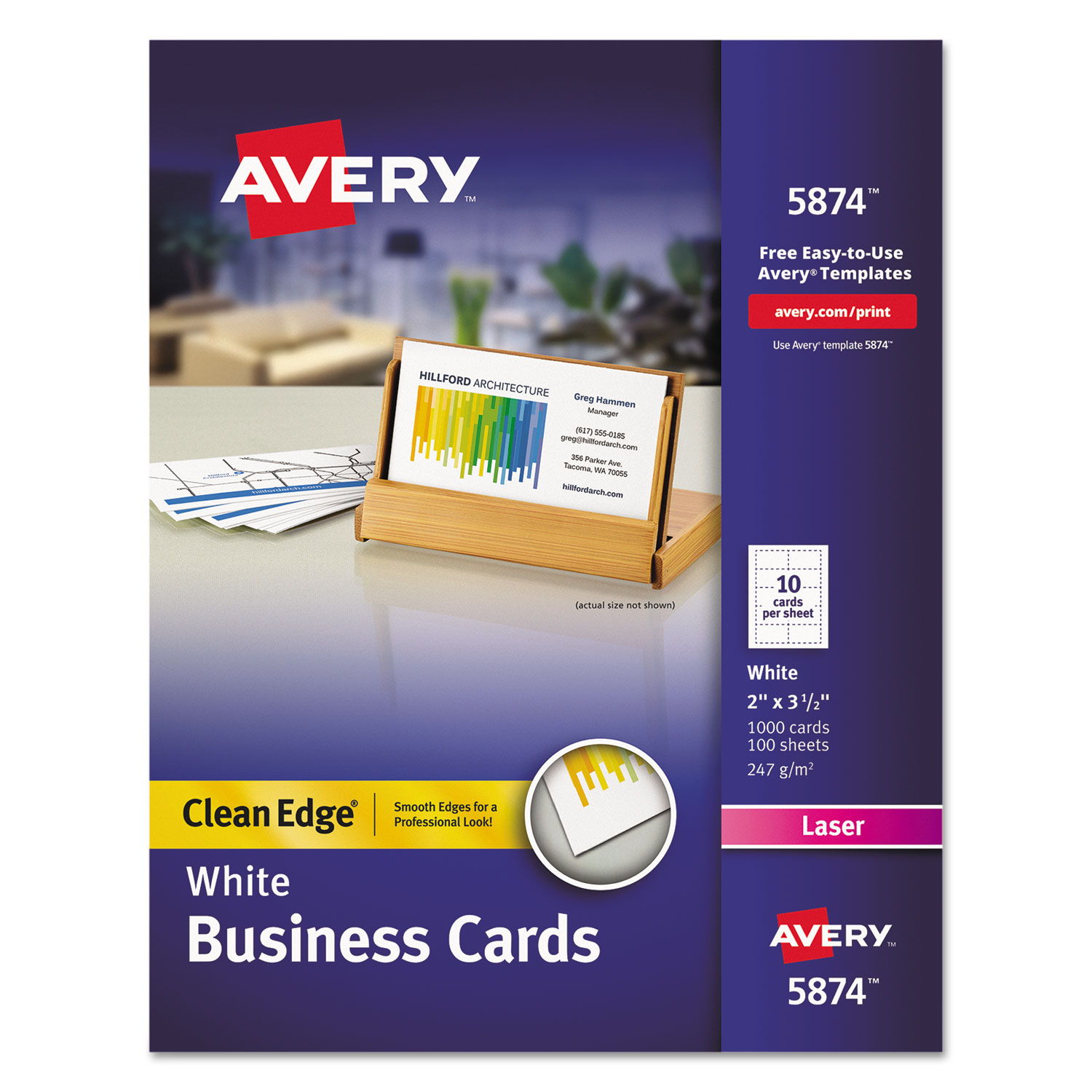Inkjet 200//Pack 2 x 3 1//2 Two-Side Printable Clean Edge Business Cards Sold as 200 Each Ivory