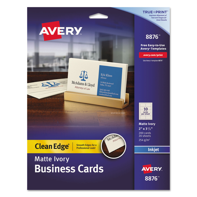 True Print Clean Edge Business Cards Inkjet 2 X 3 1 2 Ivory