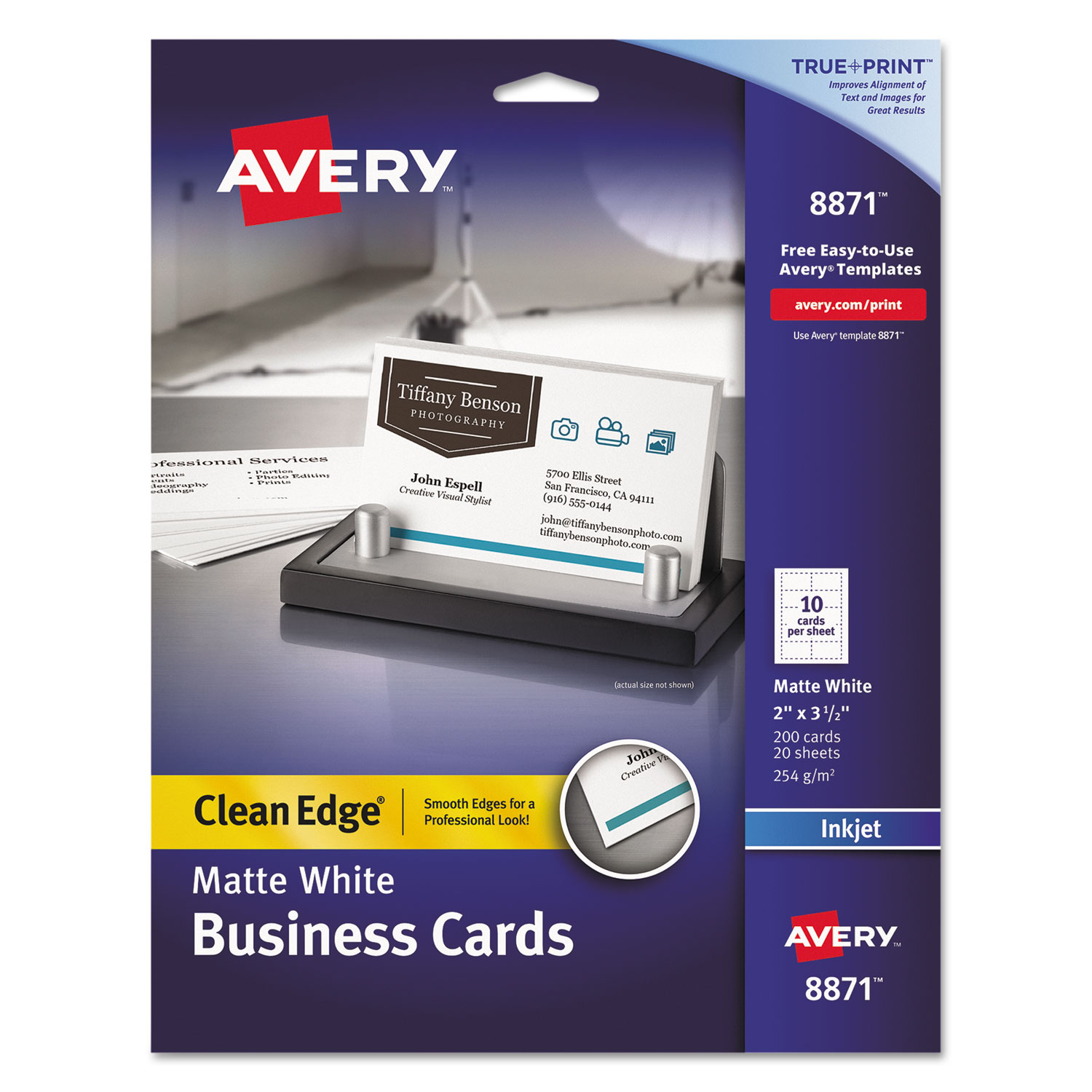 True Print Clean Edge Business Cards by Avery® AVE8871 ...