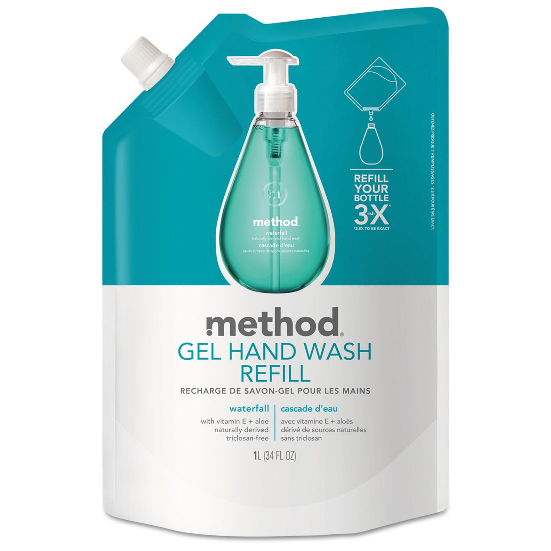 Gel Hand Wash Refill, Waterfall, 34 oz Pouch