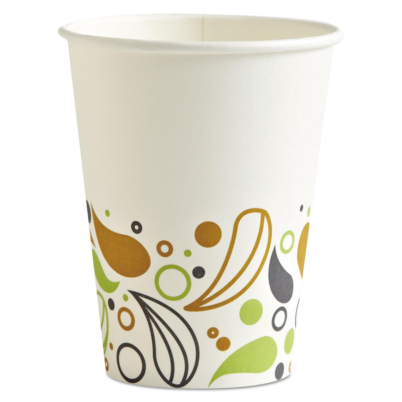 Deerfield Printed Paper Hot Cups, 12 oz, 20 Cups/Sleeve, 50 Sleeves/Carton