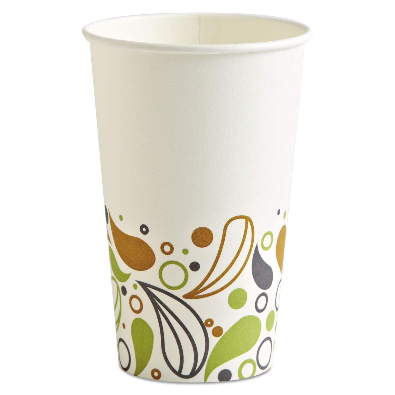 Deerfield Printed Paper Hot Cups, 16 oz, 20 Cups/Sleeve, 50 Sleeves/Carton