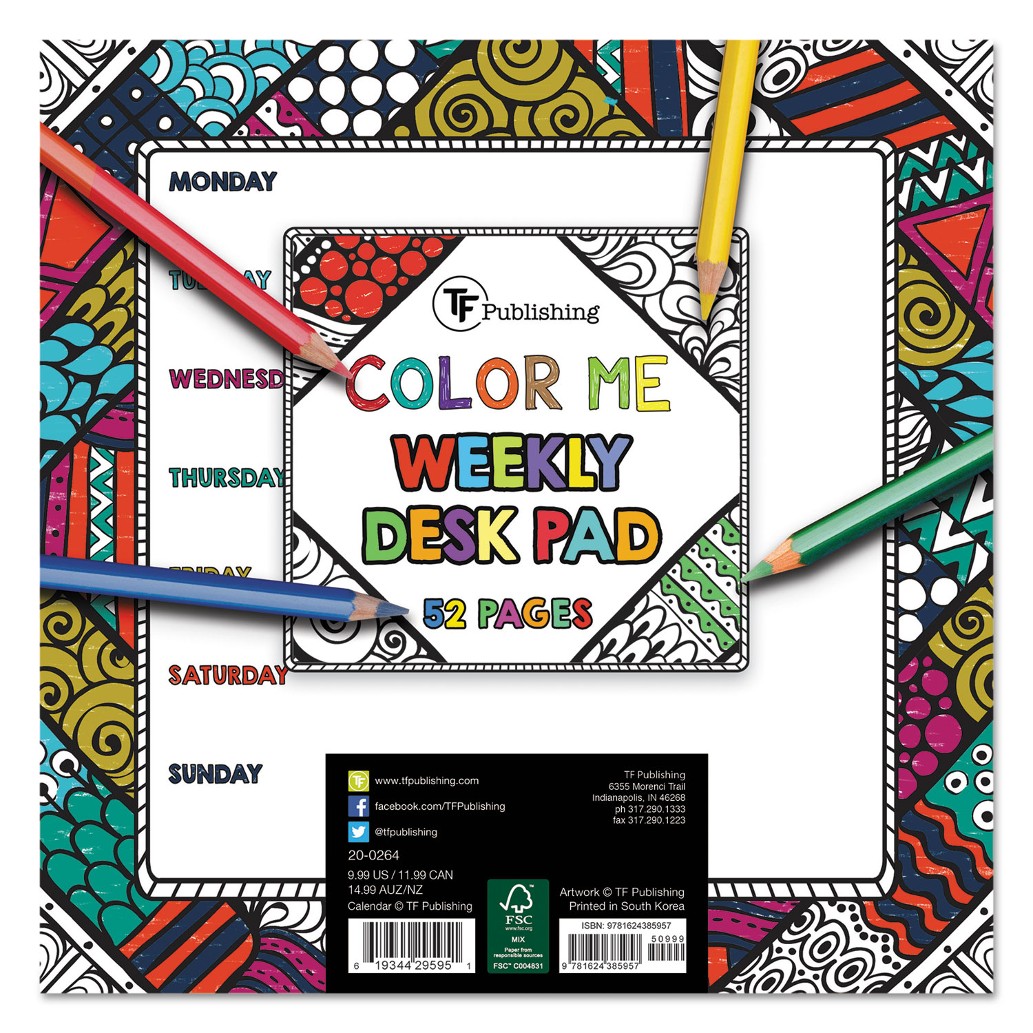 Color Me Weekly Desk Pad By Tf Publishing Tfb200264