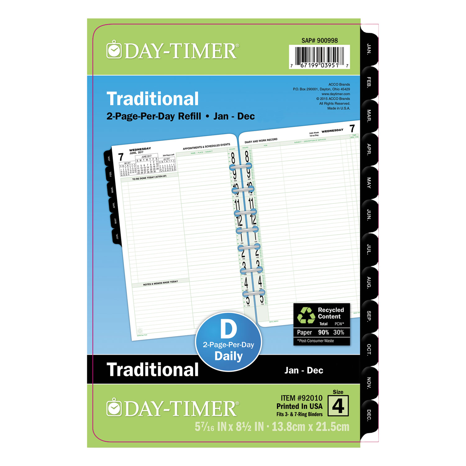 Original Two Page Per Day Refill By Day Timer 174 Dtm92010