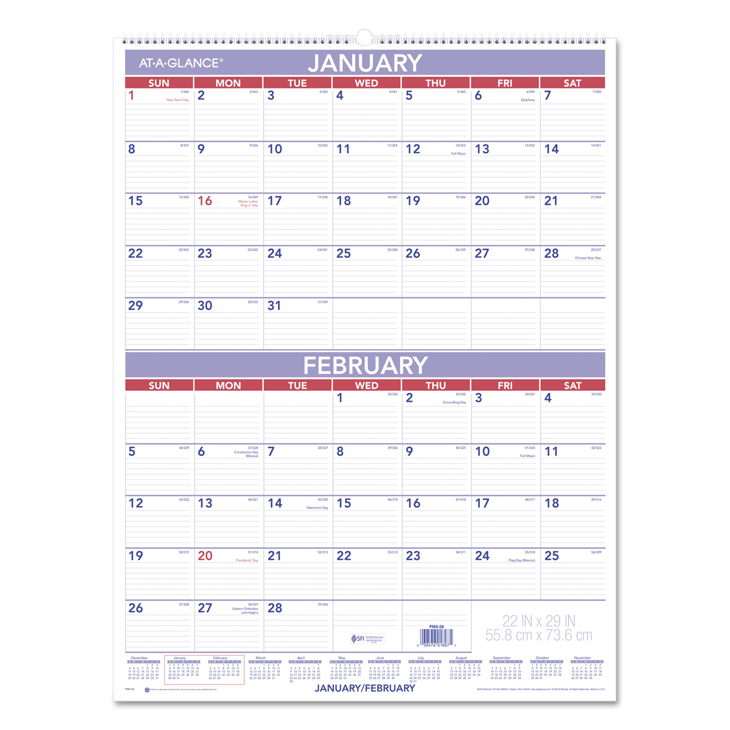 Two-Month Wall Calendar by AT-A-GLANCE® AAGPM928 - OnTimeSupplies.com