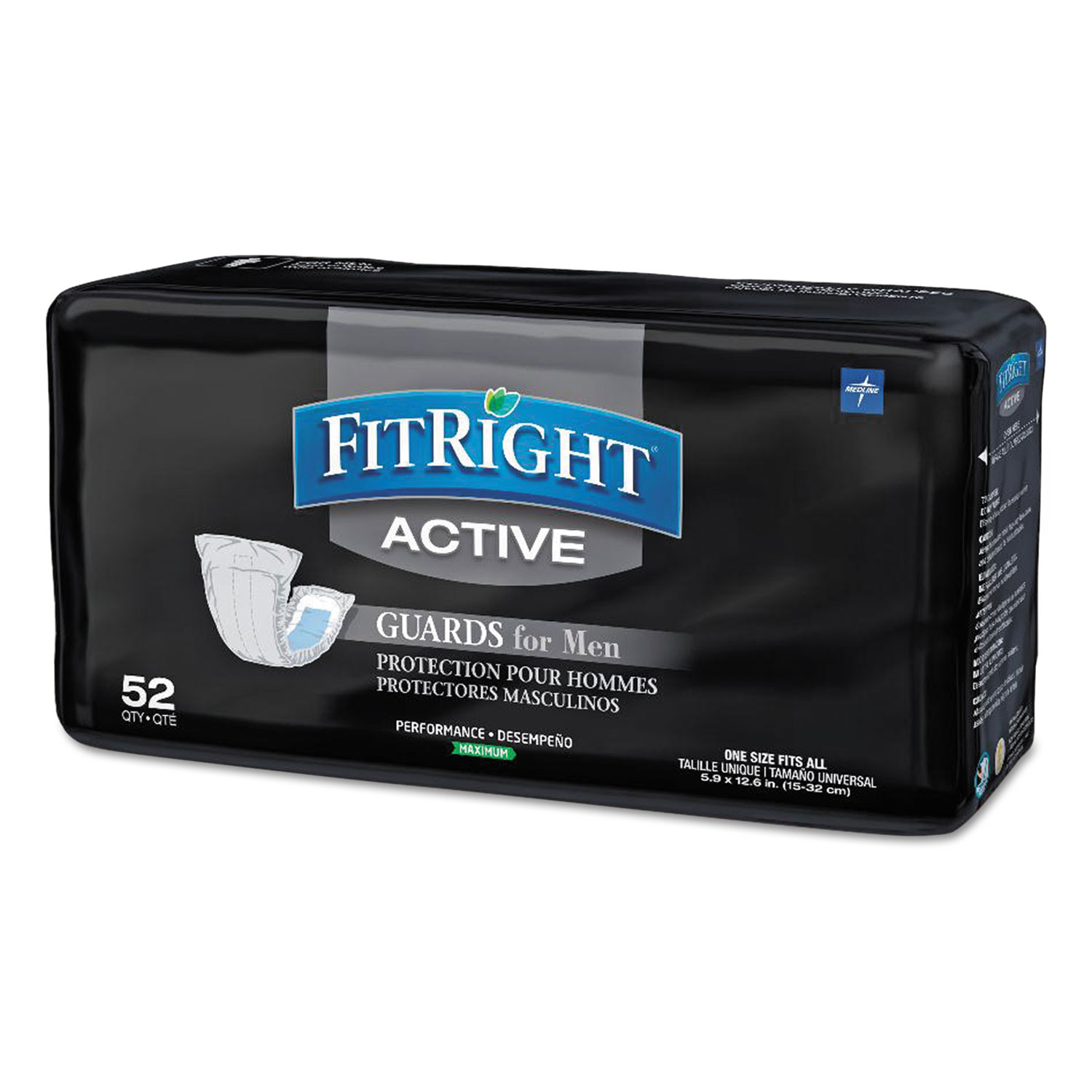 "FitRight Active Male Guards, 6"" x 11"", White, 52/Pack, 4 Pack/Carton"