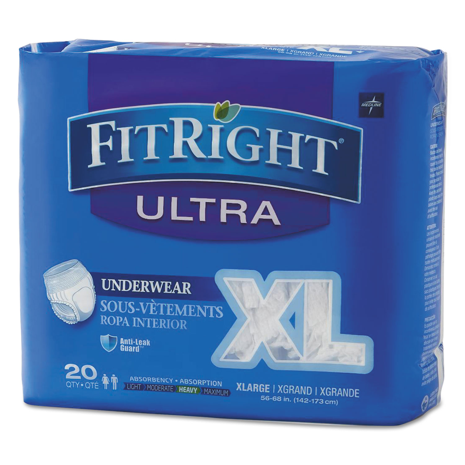 "FitRight Ultra Protective Underwear, X-Large, 56"" to 68"" Waist, 20/Pack, 4 Pack/Carton"