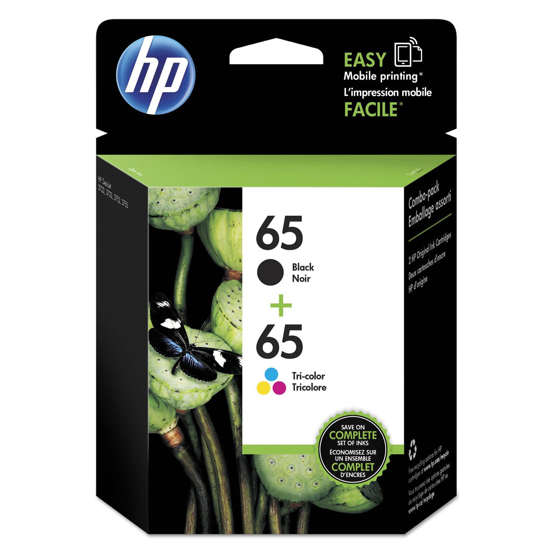 HP 65 T0A36AN Black Tri-Color Original Ink Cartridge, 2/Pk