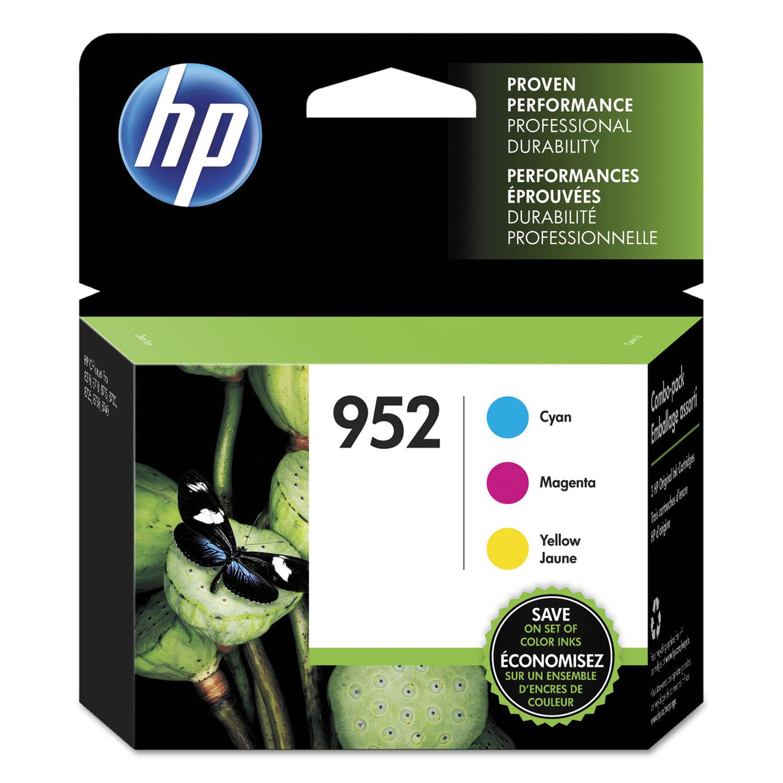 HP 952, (N9K27AN) 3-pack Cyan/Magenta/Yellow Original Ink Cartridges