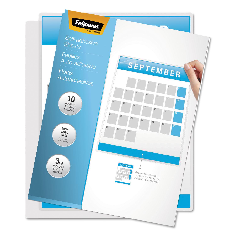 50//Box 3 mil 9 x 12 Clear Self-Adhesive Laminating Sheets