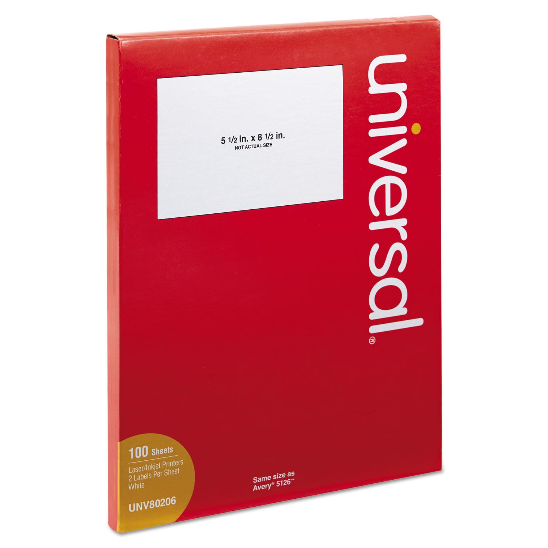 White Labels, Inkjet/Laser Printers, 5.5 x 8.5, White, 2/Sheet, 100 Sheets/Pack