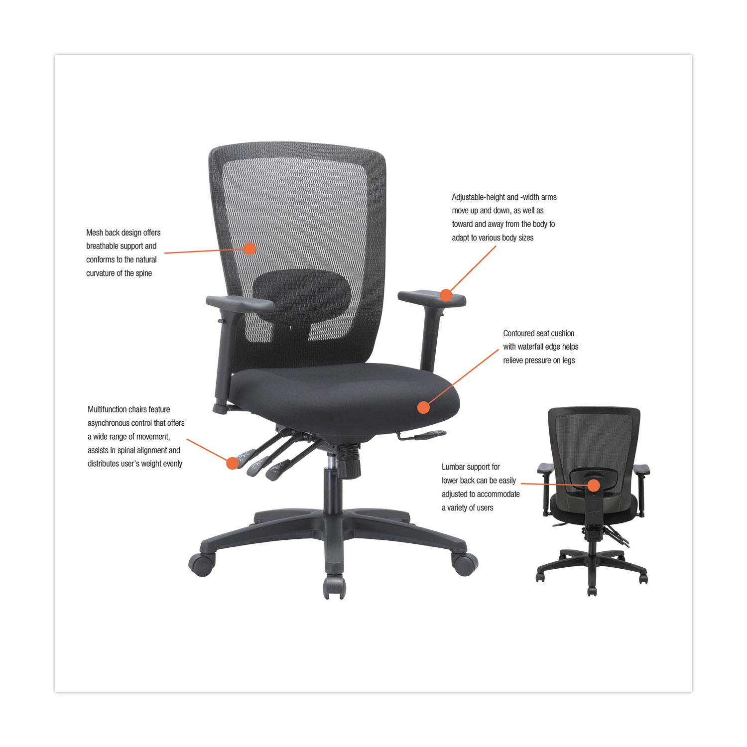 Alera Envy Series Mesh Mid Back Multifunction Chair by Alera