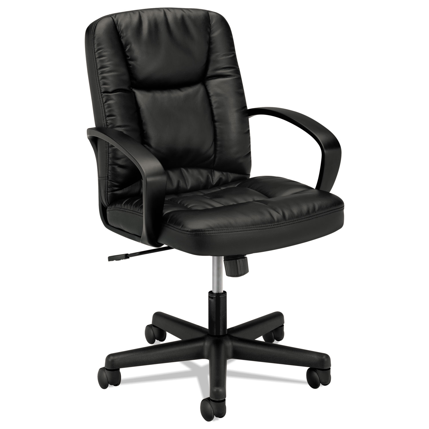 Astounding Hvl171 Executive Mid Back Leather Chair Supports Up To 250 Lbs Black Seat Black Back Black Base Spiritservingveterans Wood Chair Design Ideas Spiritservingveteransorg