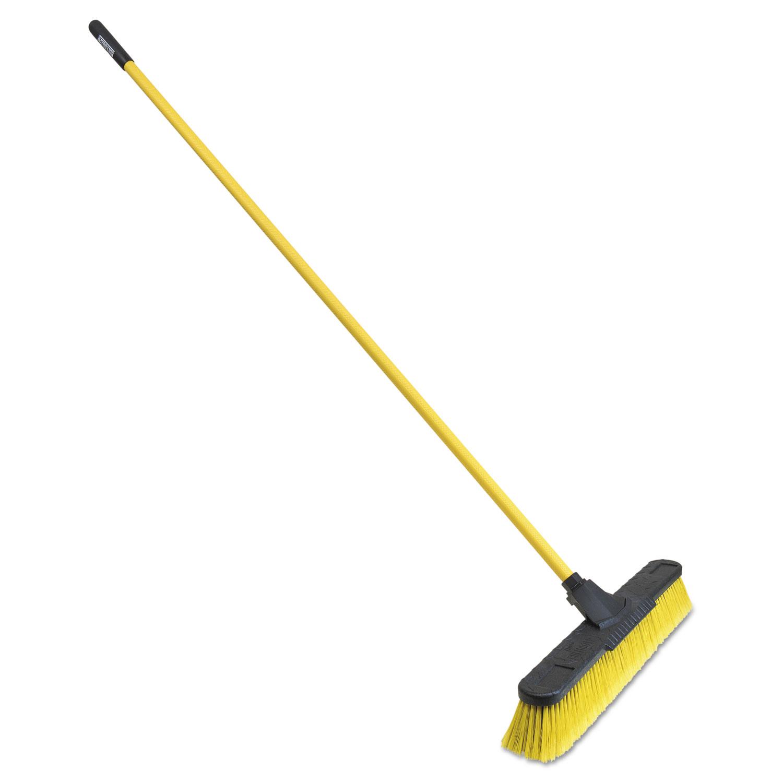 Multisurface Pushbroom, 24 Brush, 63 3/4 Handle, PET/Steel, Yellow/Black
