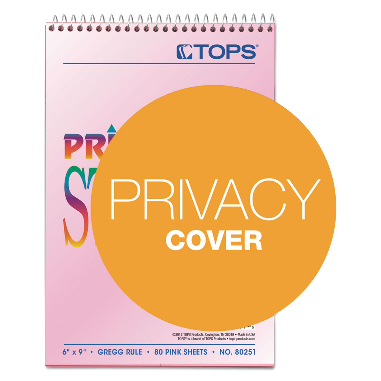 Prism Steno Books, Gregg Rule, 6 X 9, Pink, 80 Sheets, 4/Pack